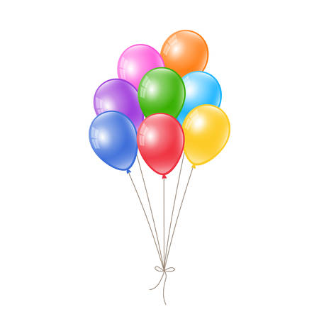 Realistic colorful balloons tied up together. Floating balloons.