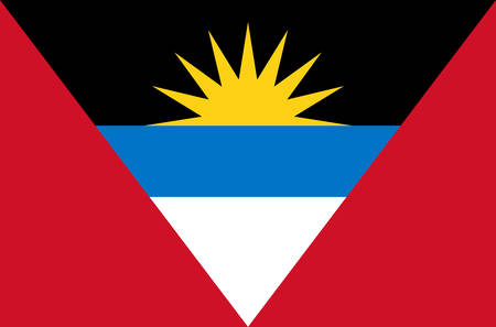 Antigua and Barbuda national flag, official flag of Antigua and Barbuda accurate colors, true color Ilustrace