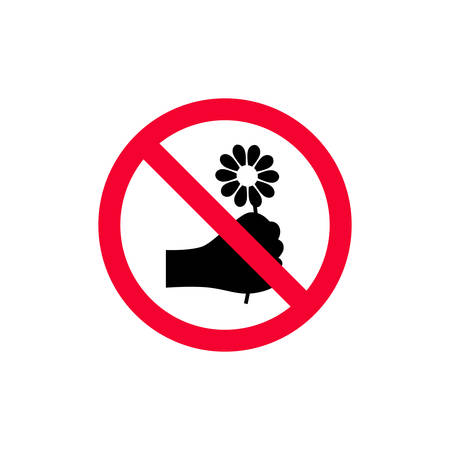 No picking flowers sign. Do not pick the flowers red prohibition sign.  イラスト・ベクター素材