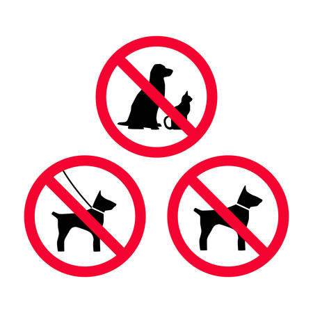 No dogs, no pets, no leash dogs, no free dogs red prohibition sign. Pets not allowed. Illustration