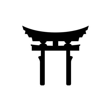 Shinto Torii gate religious symbol simple icon Illustration