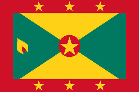 Grenada national flag, official flag of Grenada accurate colors, true color Ilustrace