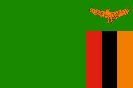 Zambia national flag, official flag of Zambia accurate colors, true color Illustration