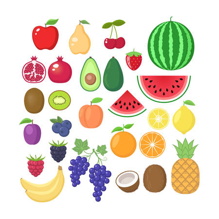Various fruit collection. Vector fruits cartoons set. Fruit clipart.