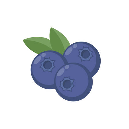 Blaubeeren mit Blattvektorsymbol. Blaubeer-Symbol Clipart. Blaubeerkarikatur.