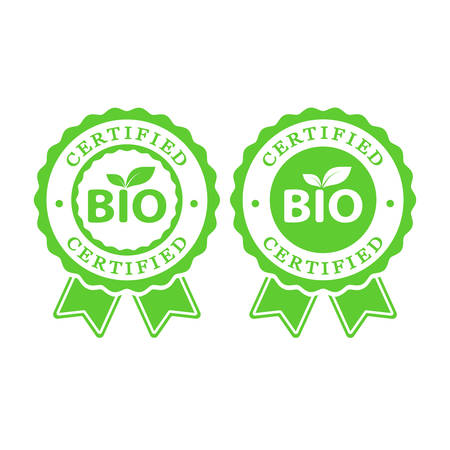 bio certified batch labels set. bio food, cosmetics packaging stickers Illustration