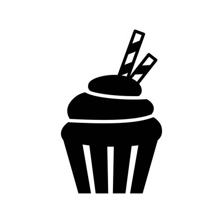 Black isolated vector cupcake icon. Muffin icon.