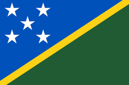 Solomon islands national flag, official flag of The solomon islands accurate colors, true color Ilustrace