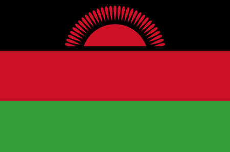 Malawi national flag, official flag of Malawi accurate colors, true color