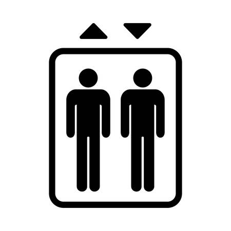 Elevator sign. Black isolated symbol for elevator. Simple design. Vectores
