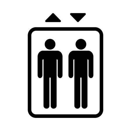 Elevator sign. Black isolated symbol for elevator. Simple design. Vettoriali