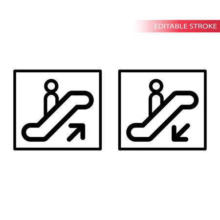 Escalator sign. Editable stroke. Outline icons.