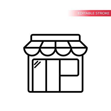 Online shopping black outline icon. Thin line market place icon. Editable stroke.