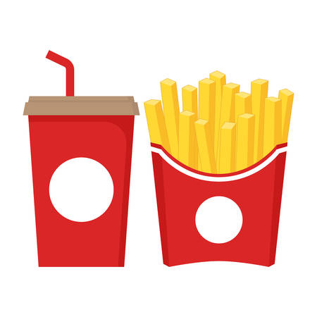 Fast food icon set. Soda with straw in red paper cup and french fries in red paper box.
