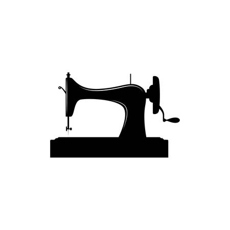 Vintage sewing machine black vector silhouette. Retro sewing machine. Иллюстрация