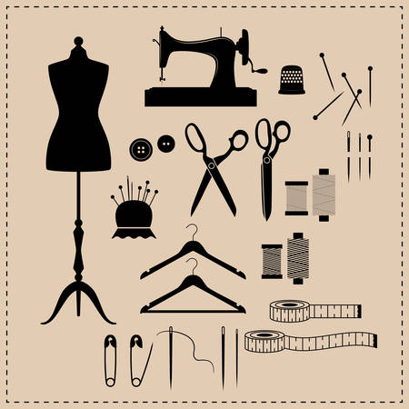 Retro sewing kit icon set. Black vintage sewing kit icons. Mannequin, sewing machine, scissors vintage icons.