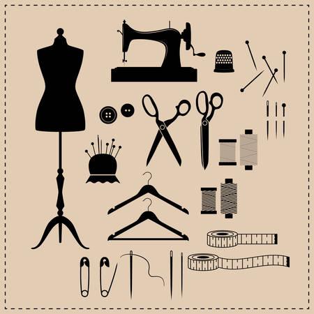 Zestaw ikon zestaw do szycia retro. Ikony czarny zestaw do szycia vintage. Manekin, maszyna do szycia, nożyczki vintage ikony. Ilustracje wektorowe