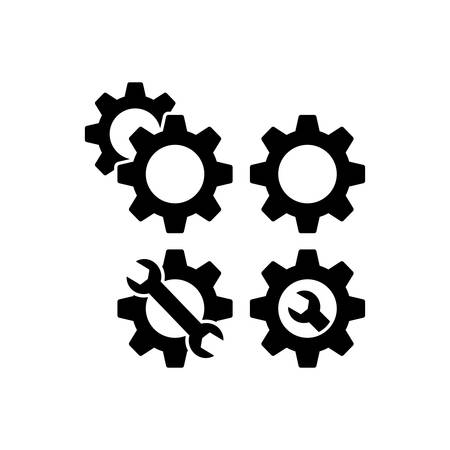 Gears web icons for settings, setup and service. Cog wheels and wrench icons. Cogwheel and spanner. Illustration