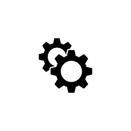 Two cogwheels settings and setup icon. Gears maintenance web icon. Illustration