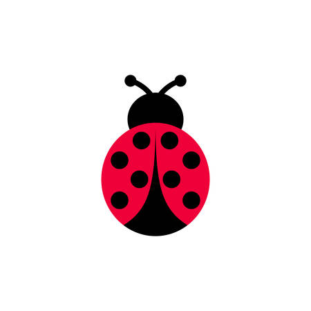Ladybird vector cartoon icon. Ladybug symmetrical clipart cartoon.