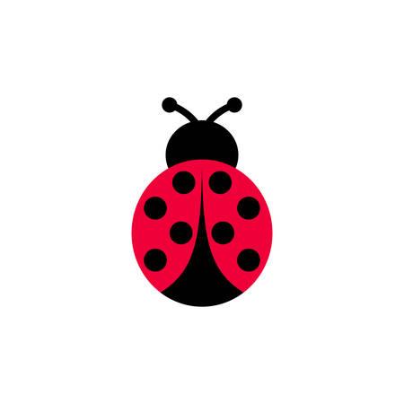 Ladybird vector cartoon icon. Ladybug symmetrical clipart cartoon.