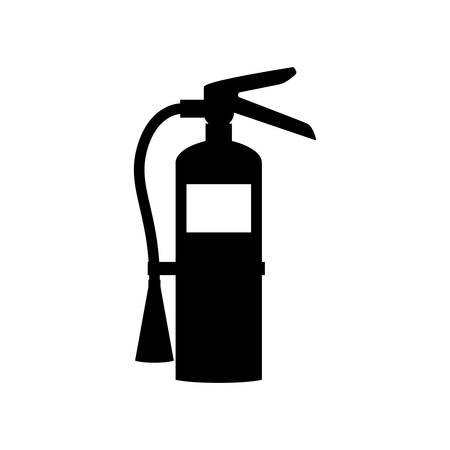 Fire extinguisher black isolated icon sign. Fire extinguisher vector symbol. Illustration