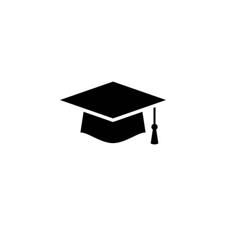 Graduation cap simple vector icon. Graduation hat icon.