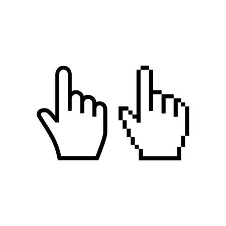 Hand mouse cursor icon. Pointer hand cursor icons, pixelated vector hand cursor symbol. Иллюстрация
