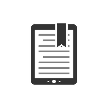Touchpad ebook, e-reader display with text and bookmark. E book concept vector icon. Tablet e-book symbol.