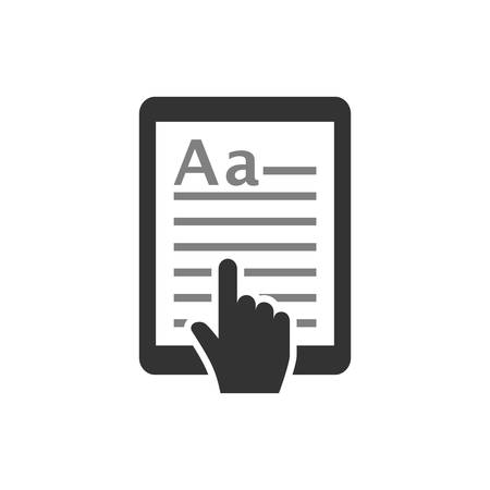 E-book touchpad tablet icon. Tablet with text and cursor hand. E book, e reading concept vector icon.