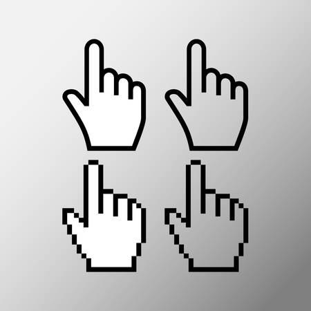 Hand mouse cursor icon. Pointer hand cursor icons, pixel vector hand cursor symbol.