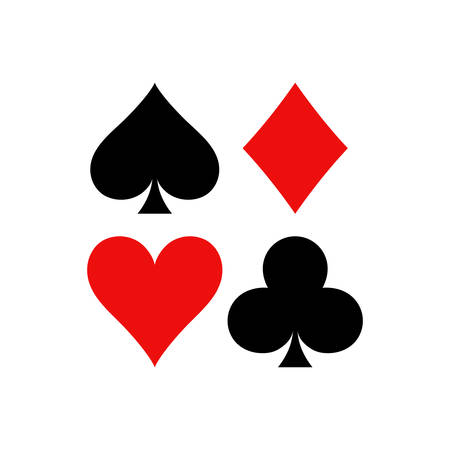 Playing cards vector symbols. Diamonds, spades, clubs and hearts icon set in a square. Ilustrace