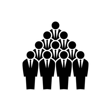Team businessmen employees silhouettes. Pyramid teamwork concept.