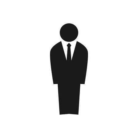 Businessman figure silhouette. Employee in a suit vector icon.