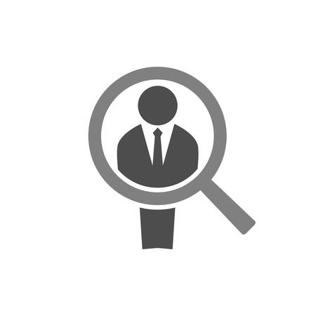Businessman silhouette and a magnifier. Employee recruit concept icon. Man figure and magnifying glass icon. Employee recruitment.