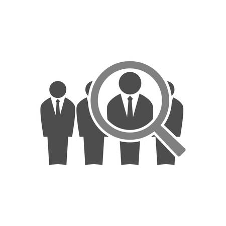 Employee recruitment concept illustration. Businessmen in suits in line and a magnifying glass. Human resources job hiring icon.