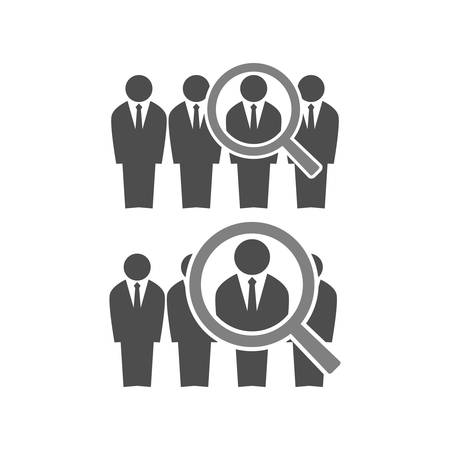 Employee recruiting concept illustration. businessmen in suits in line and a magnifying glass. Human resources job hiring icon.