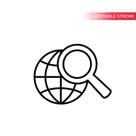 Web search concept icon. Globe and magnifying glass web icon. No fill, black stroke, fully editable.