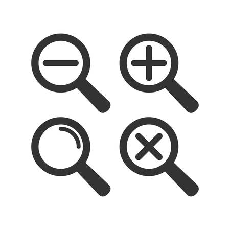 Web loupe flat icon set. Magnifying glass with plus and minus sign. Magnify icon. Иллюстрация