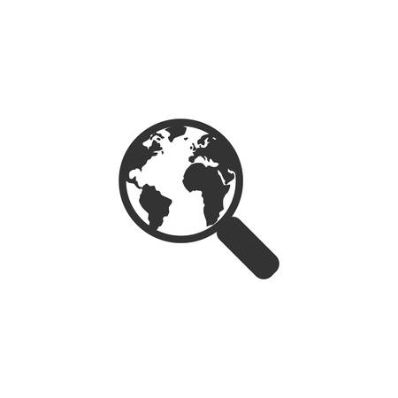 Magnifying glass and planet Earth with continents glyph icon. Web search symbol.