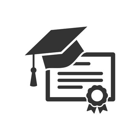 Diploma certificate and graduation cap icon. Academic degree concept icon. Иллюстрация