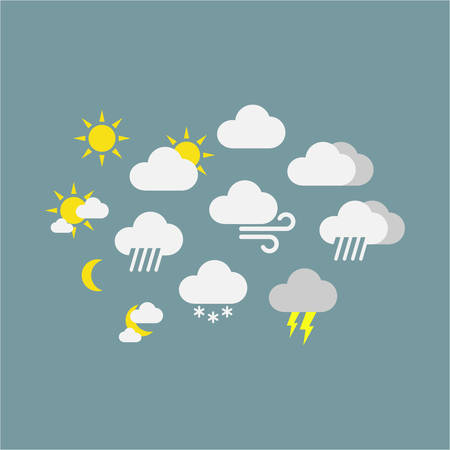 Weather forecast vector icon symbols. Colorful sunny, rainy, snowy, windy icons. Clouds, sun, snowflake icons. Иллюстрация