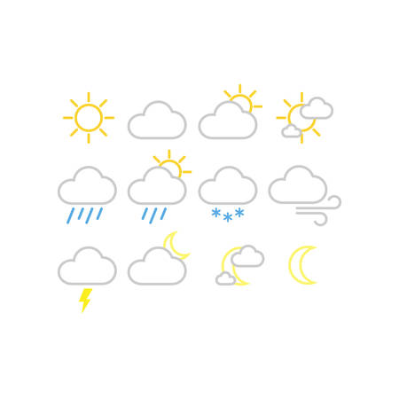 Weather forecast vector icons. Sunny, snowy, rainy weather icon set. White fill, editable stroke.