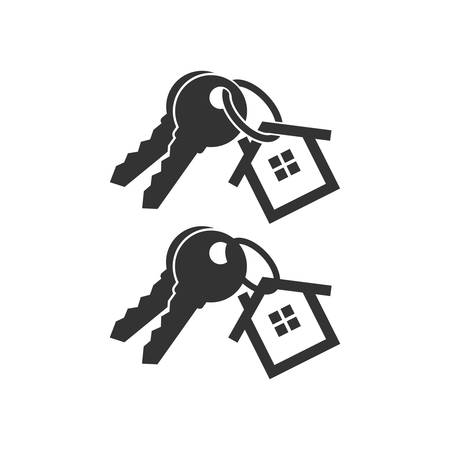 Keys with key chain ring and a house pendant. Real estate concept icon. New home logo design. Pair of house keys.