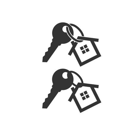 Key with key chain ring and a house pendant. Real estate concept icon. New home logo design. House key.