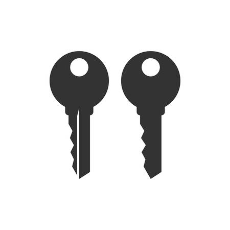 Simple house key black vector silhouette icon set. Keyword concept key icons.
