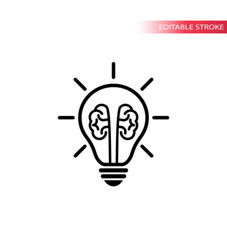 Light bulb with brain idea concept vector icon. Lightbulb with rays glowing line icon.