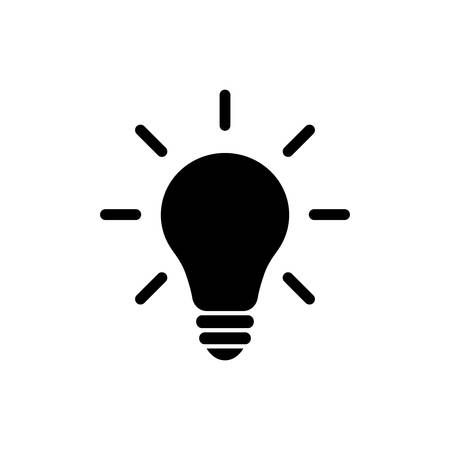 Light bulb idea concept vector icon. Lightbulb with rays glowing flat glyph icon. Иллюстрация