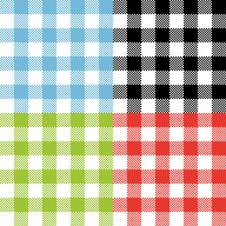 Four checkered tartan seamless pattern designs. Tablecloth checkered red, blue, green, black and white vector seamless pattern texture.