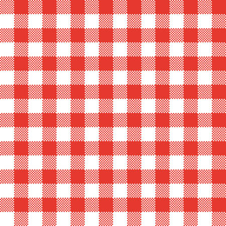 Red checkered tartan seamless pattern design. Tablecloth checkered red squares vector seamless pattern texture.